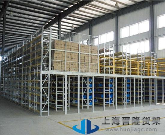 上海晋隆货架仓库电子阁楼货架图片大全
